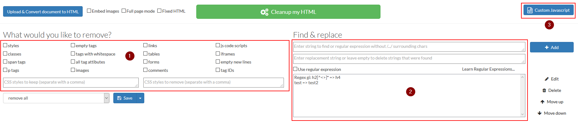 html cleanup order